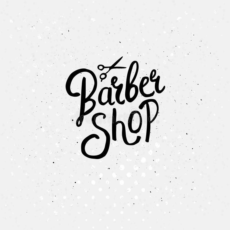 Simple Text Design for Barber Shop Concept stock illustration