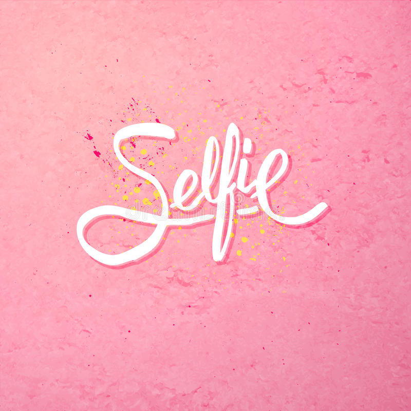 Simple Text Design for Selfie Concept on Pink royalty free illustration