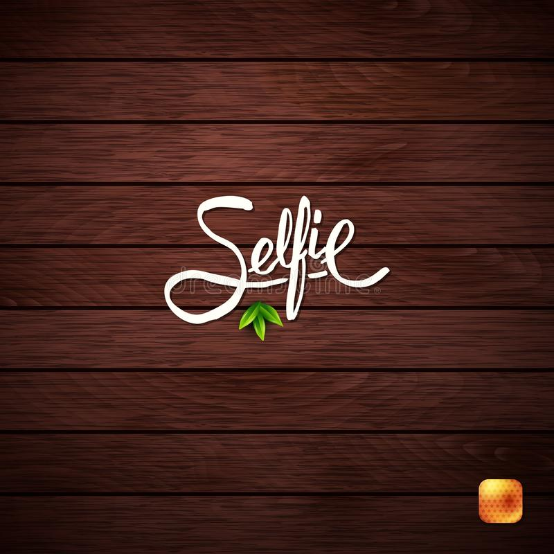 Simple Text Design for Selfie Concept on Wood. royalty free stock photos