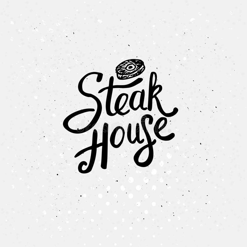 Simple Text Style for Steak House Concept vector illustration