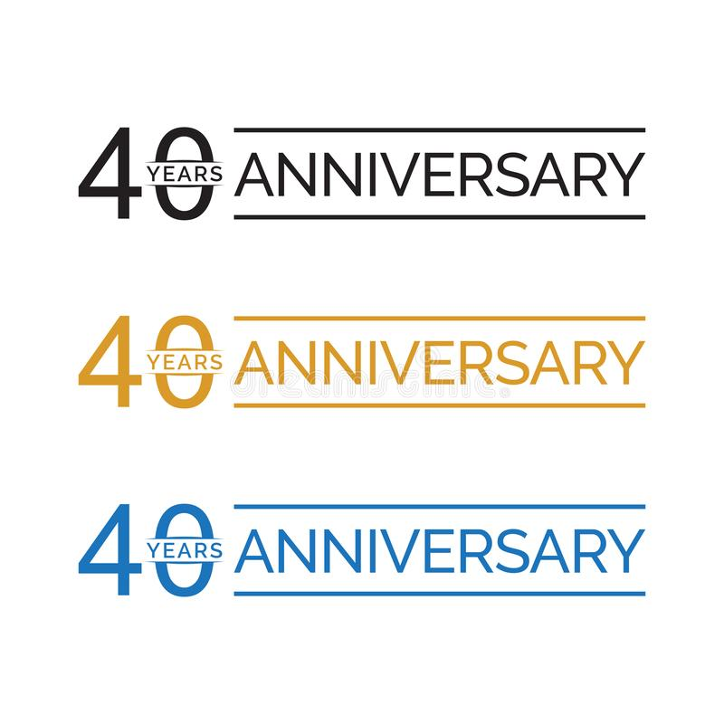 Simple 40th anniversary years logo vector. blue black gold color vector illustration