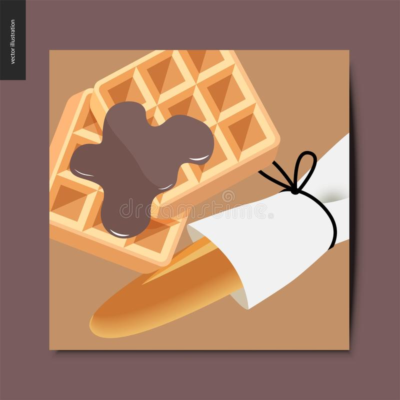 Simple things - baked goods. Flat cartoon vector illustration of a wrapped french long loaf and backed belgian waffles topped with chocolate dressing, summer vector illustration