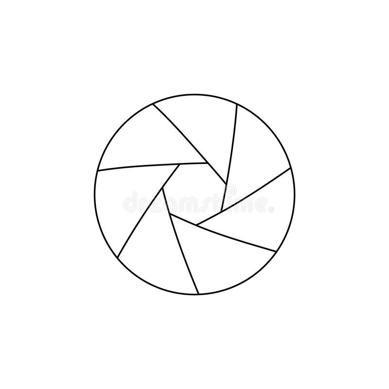 Simple thinline icon of photo camera lens aperture. Simple thinline icon of photo camera lens aperture vector illustration