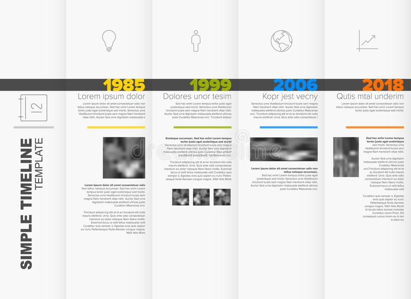 Simple timeline template. Simple horizontal timeline template with big years and photo placeholders royalty free illustration