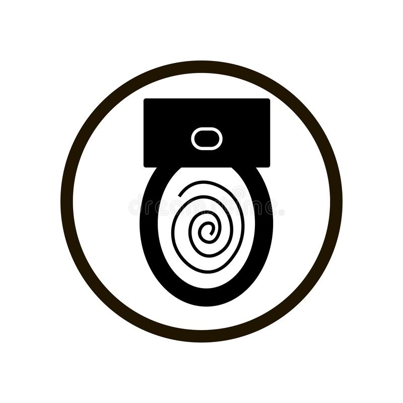 Simple toilet bowl flush sign in a black circle isolated on white background. Close up top view stock illustration
