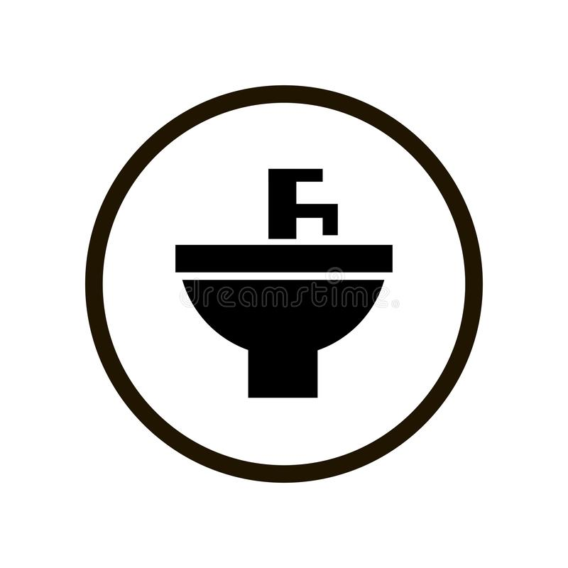 Simple toilet sign with black washbasin and water tap in circle isolated on white background vector illustration
