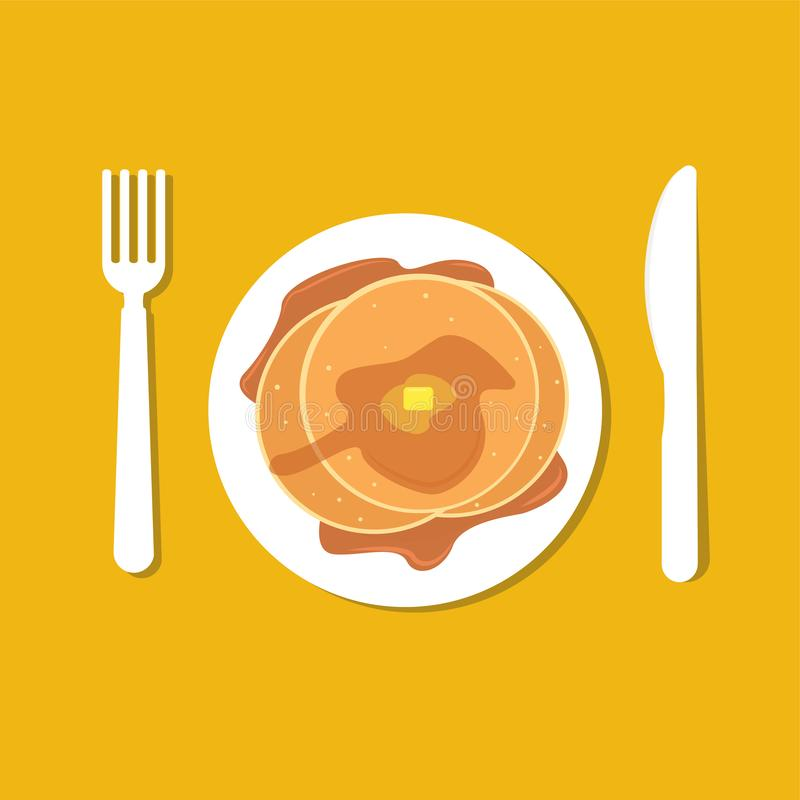 Simple top view pancake with fork and knife royalty free illustration
