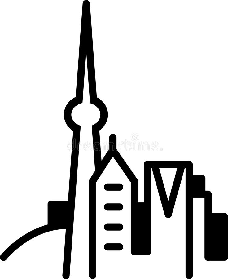 Simple Toronto Skyline Icon. Simple icon illustration of the skyline of the city of Toronto, Ontario, Canada in black and white vector illustration