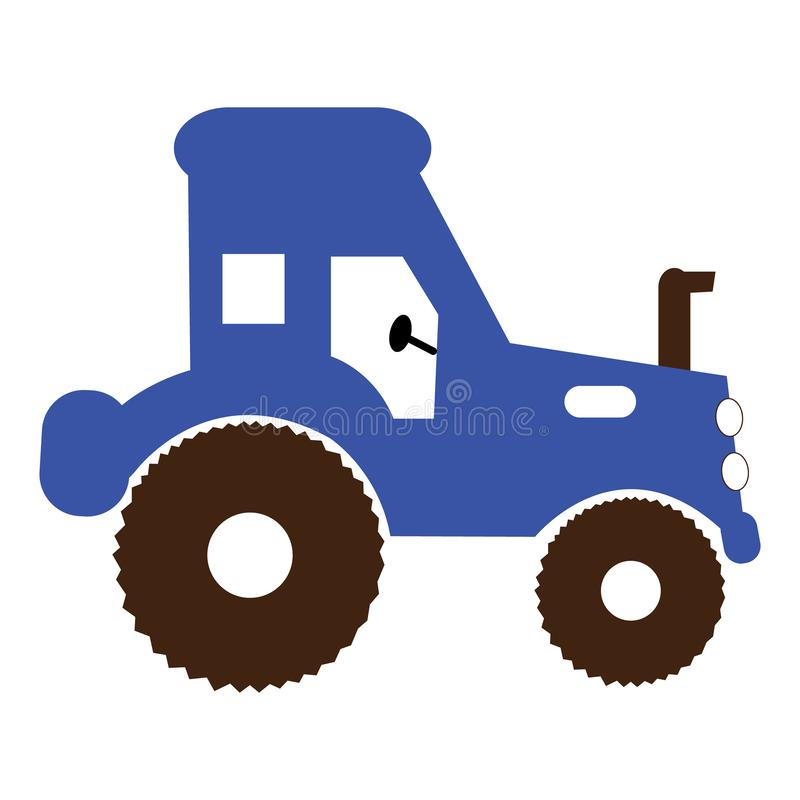 Simple tractor illustration. Basic illustration of a blue tractor royalty free illustration