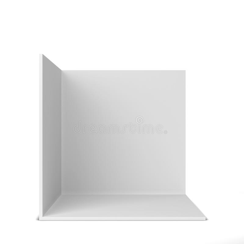Simple trade show booth. Square corner. 3d illustration isolated on white background stock illustration