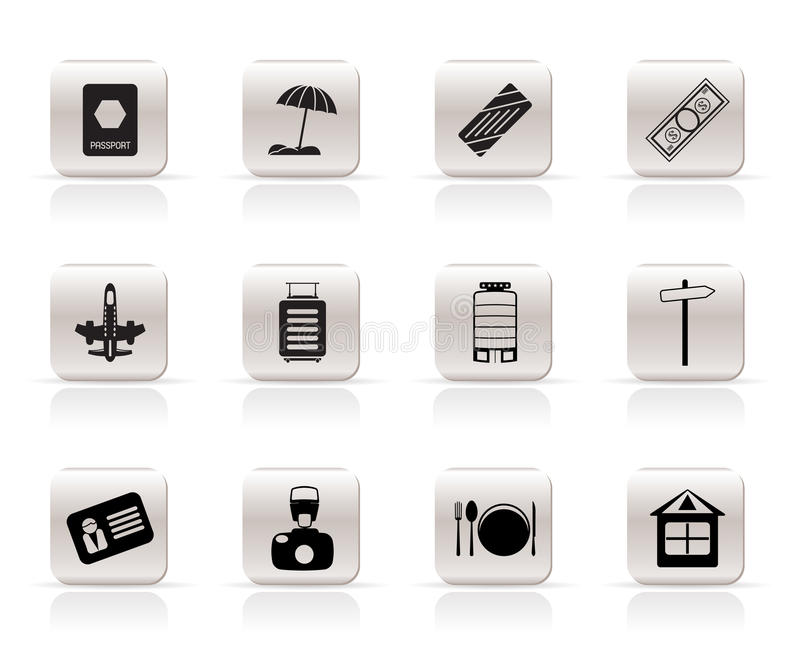 Download Simple Travel, Holiday And Trip Icons Stock Vector - Image: 10952709