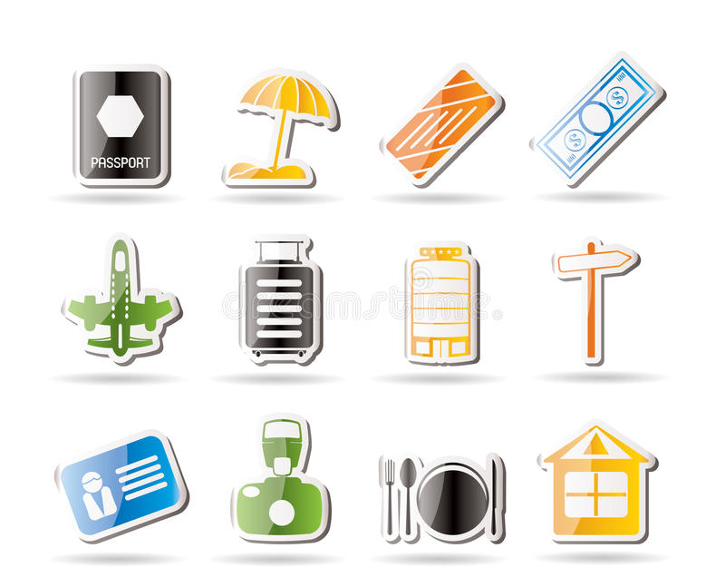 Download Simple Travel, Holiday And Trip Icons Stock Vector - Illustration of label, document: 16085388