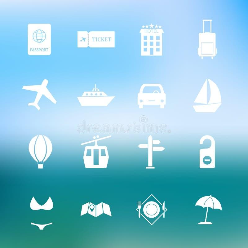 Simple travel icon set vector stock illustration