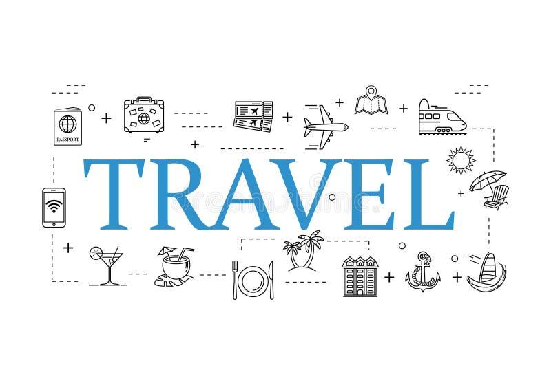 Simple travel icons set. Universal travel icons to use for web and mobile UI, set of basic UI travel elements royalty free illustration