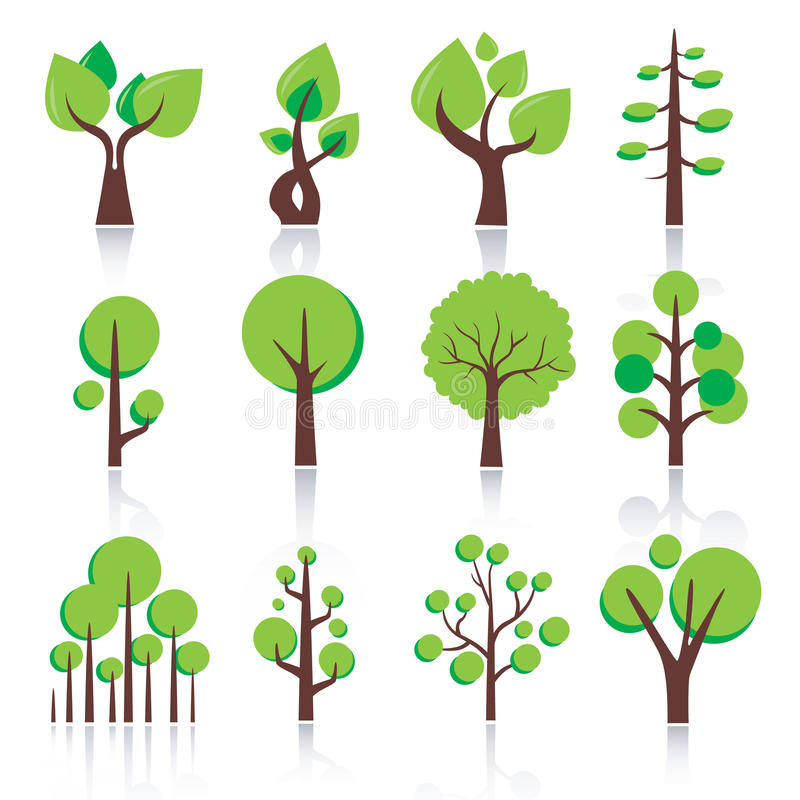 Simple tree icon. Vector isolated green plants and leaves royalty free illustration
