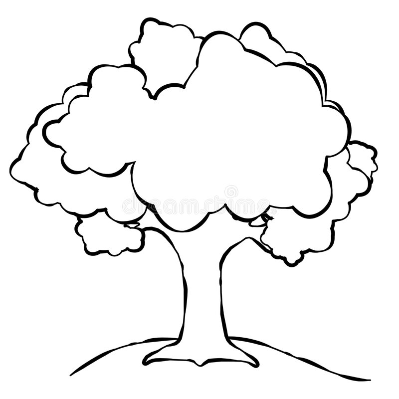 Simple Tree Line Art stock illustration