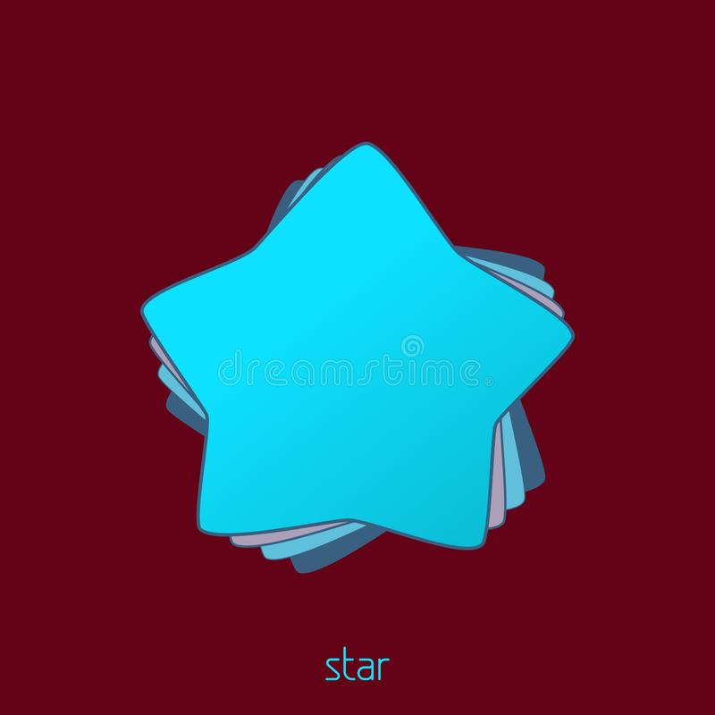 Simple turquoise star on a wine background. Vector vector illustration