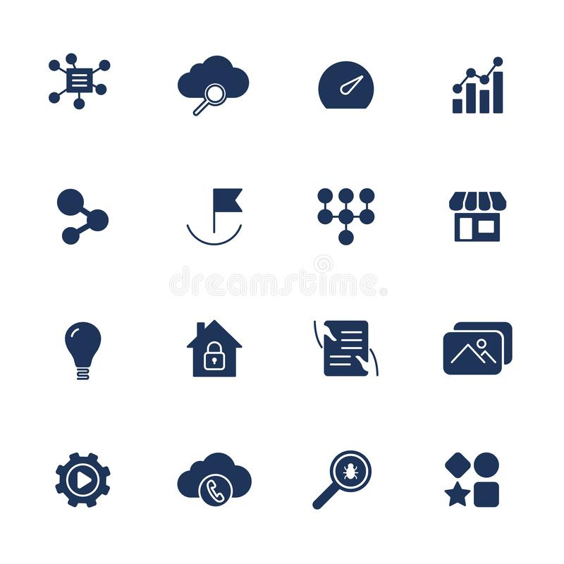 Simple UI icons for app, sites, programs. Different UI icons. Simple pictograms on white background royalty free illustration