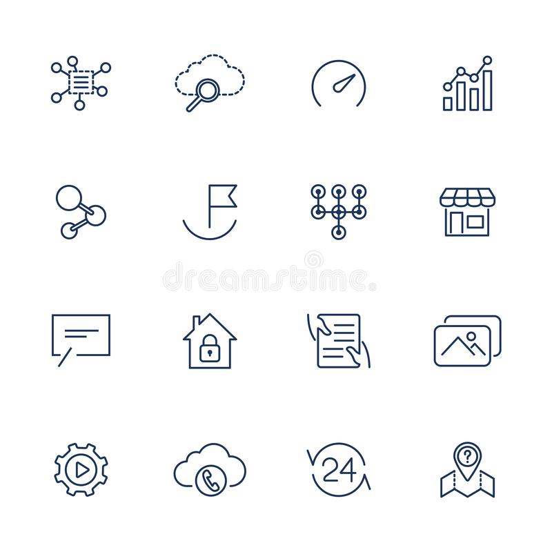 Simple UI icons for app, sites, programs. Different UI icons. Simple pictograms on white background vector illustration
