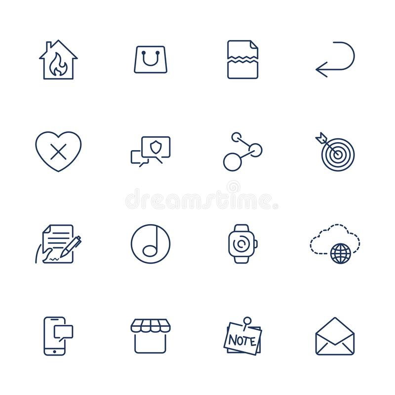 Simple UI icons for app, sites, programs. Different UI icons. Simple pictograms on white background stock illustration