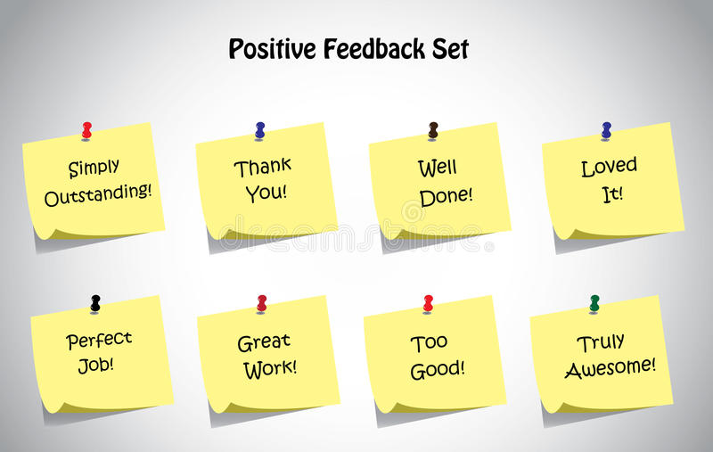 Simple unique positive feedback text post it notes collection set royalty free illustration