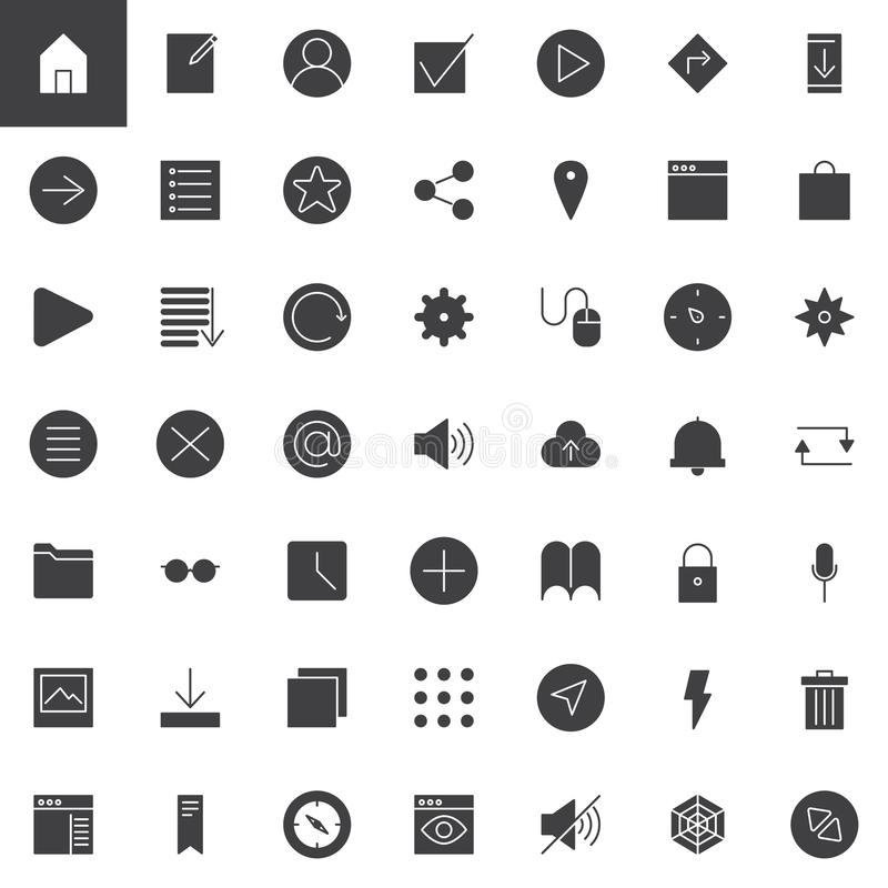Simple universal web vector icons set royalty free illustration