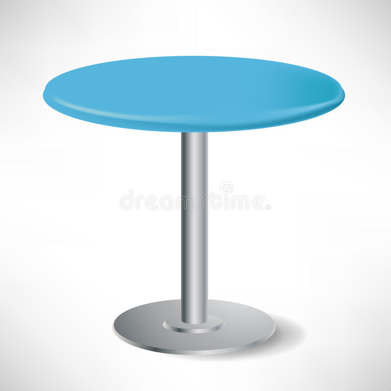 Simple unoccupied round blue table vector illustration