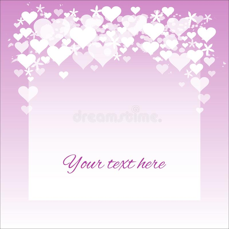 Simple Valentine card with hearts and flowers; violet royalty free illustration