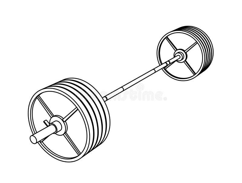 Simple vecteur forme physique de perspective de schéma d'un barbell olympique avec des plaques d'acier sur le fond blanc illustration libre de droits