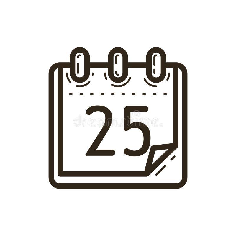Simple vecteur icône de calendrier de Noël de schéma avec la date illustration libre de droits