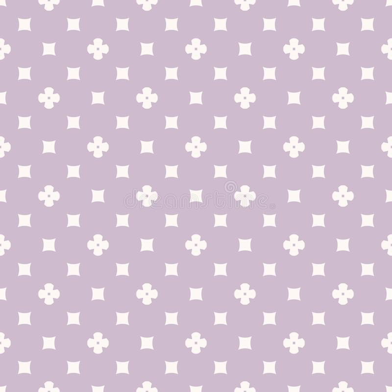 Simple vector abstract geometric floral seamless pattern. Lilac and white color. Simple vector geometric floral texture. Abstract seamless pattern with small royalty free illustration