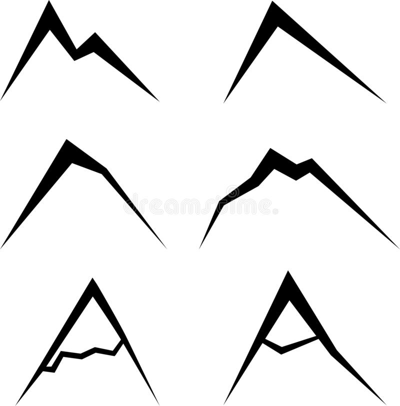 Simple vector black mountains vector illustration