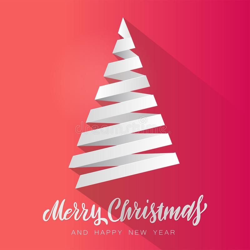 Simple vector christmas tree made from white paper stripe - original Merry Christmas card. Volume paper cut fir like arrow with vector illustration