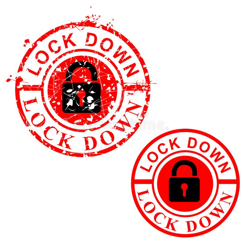 Free Simple Vector Cirle Red Grunge Rubber Stamp, Lock Down, Isolated On White Stock Images - 175663734
