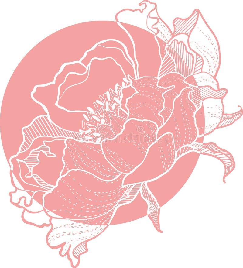 Simple Vector Clip Art Peony Flower image. Peony Vector Clip Art Flower monohrom image vector illustration
