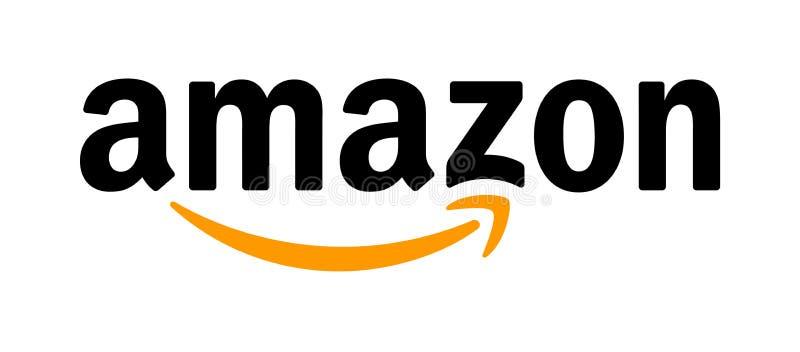 Amazon logo. Simple vector filled flat amazon icon logo solid black pictogram isolated on white background stock illustration