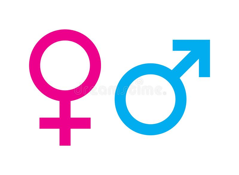 Male and female sex symbol. Simple vector filled flat in Male and female sex symbols pink and blue icon solid pictogram isolated on white background royalty free illustration