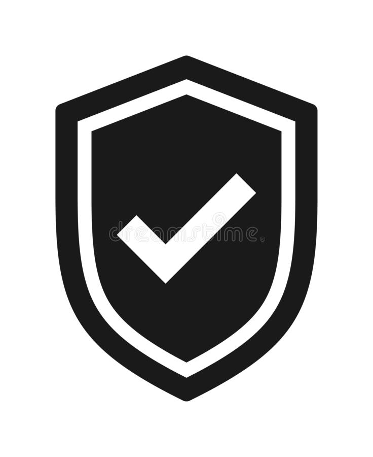 Shield security tick icon royalty free illustration