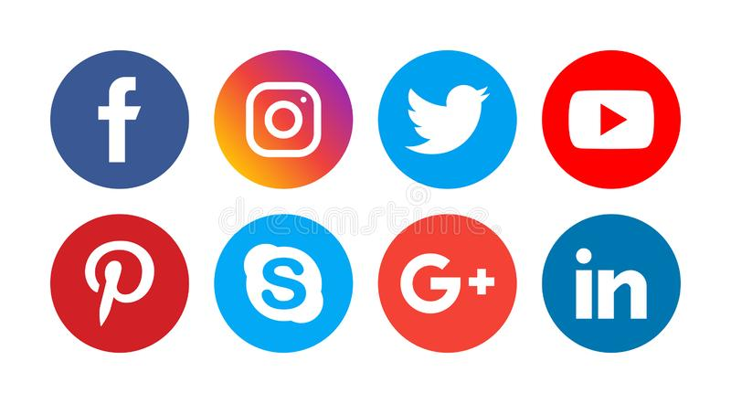 Social media icons. Simple vector filled flat Social media colorful icons isolated on white background stock illustration