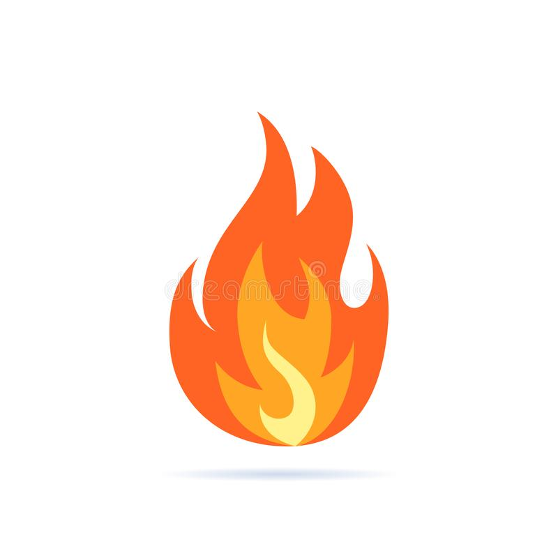 Simple vector flame icon in flat style vector illustration