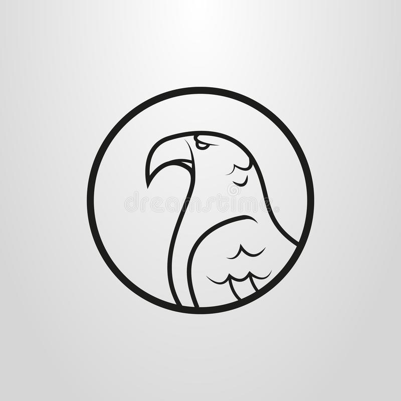 Simple vector flat symbol of eagle profile in a round round vector illustration