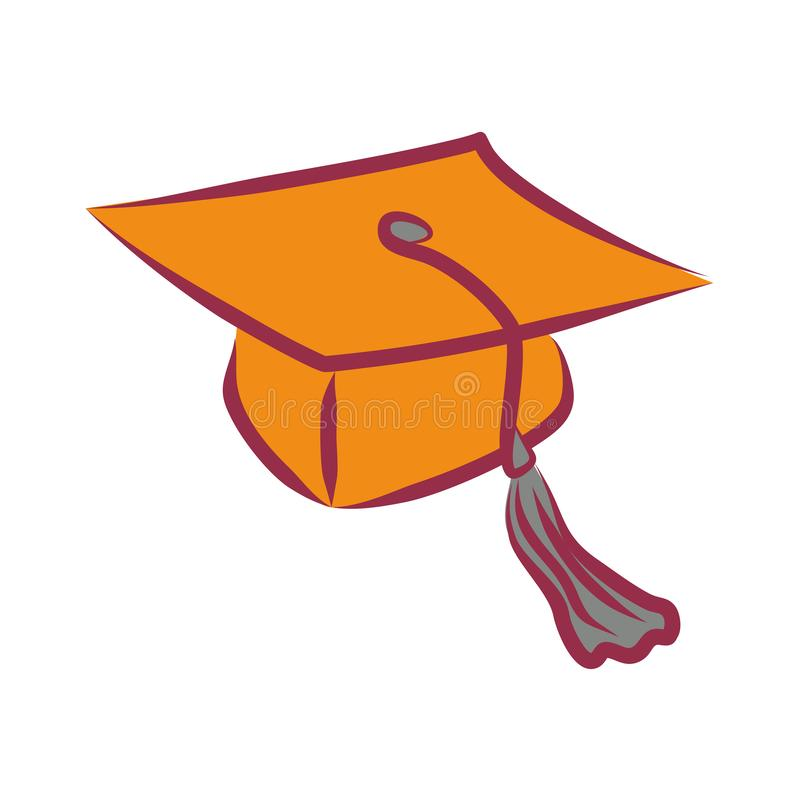 Simple vector graduate cap icon. The square academic cap, mortarboard or Oxford cap - flat linear clipart vector illustration
