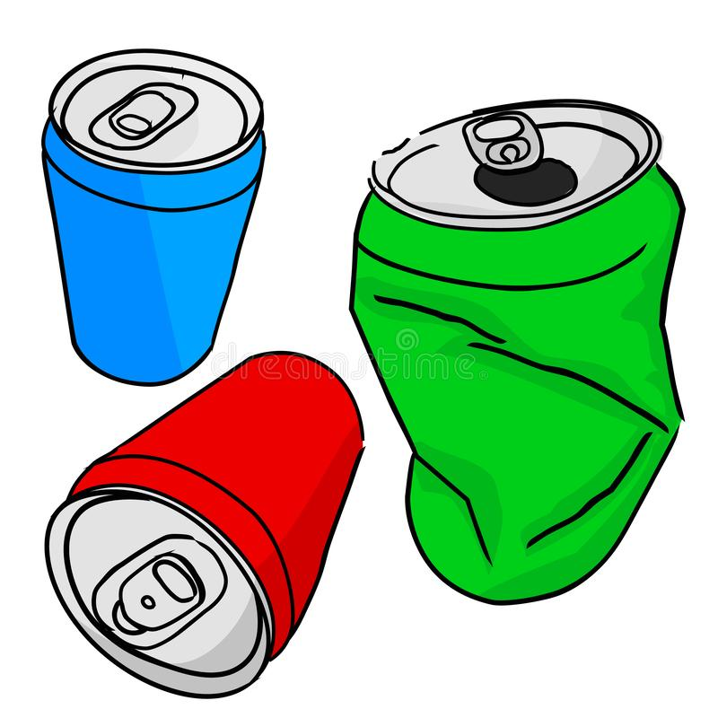 Simple Vector, Hand Draw Sketch Three perspective of of Blank Empty Red Green and Blue Soft drink can, in Good and Broken royalty free illustration