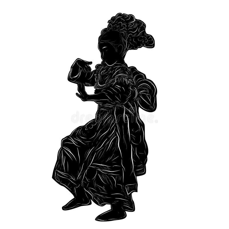 Simple Vector Hand Draw Sketch und Black Silhouette Kembang Tarub Traditionelle Betawi Old Jakarta Indonesien Traditioneller Tänz stock abbildung