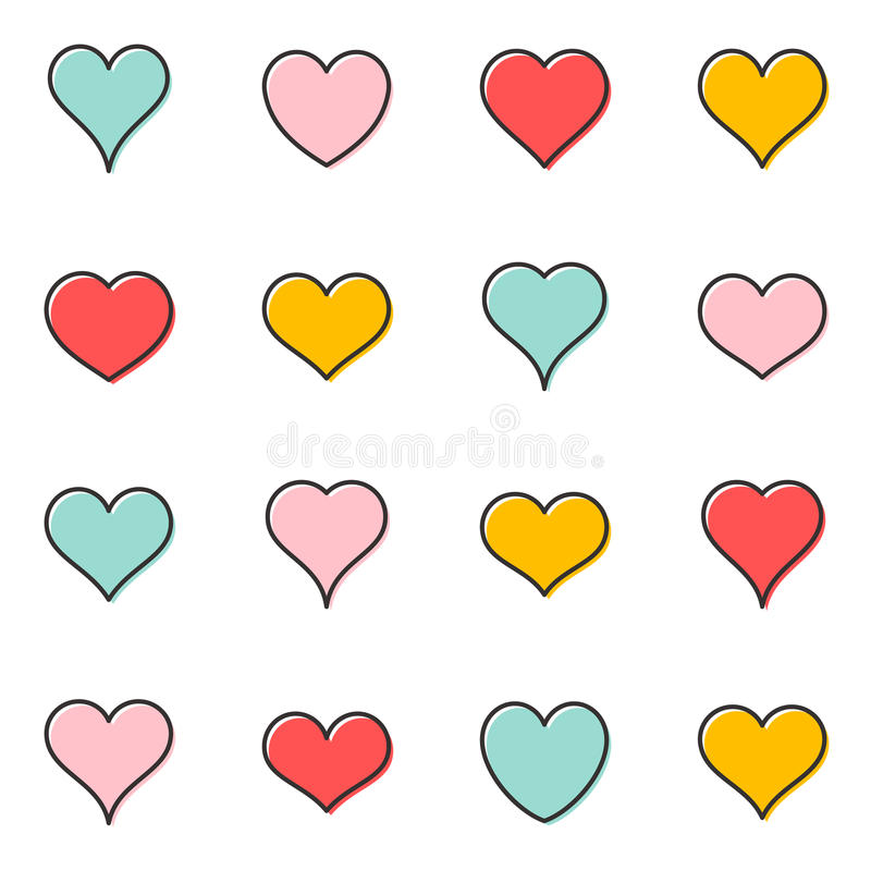 Simple vector heart outline icons stock illustration