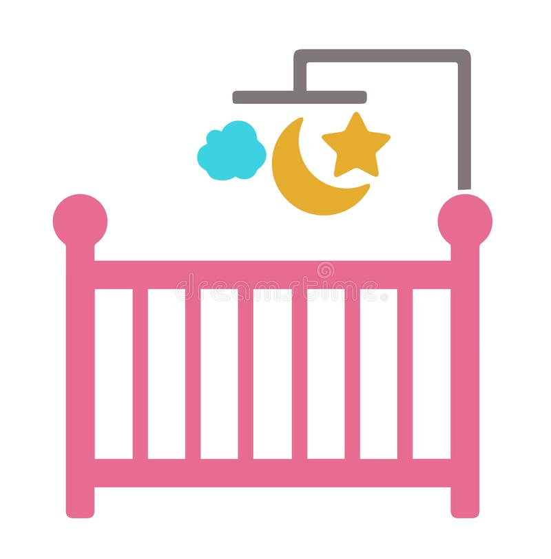 Vector icon of a baby crib with star, moon and cloud mobile stock illustration