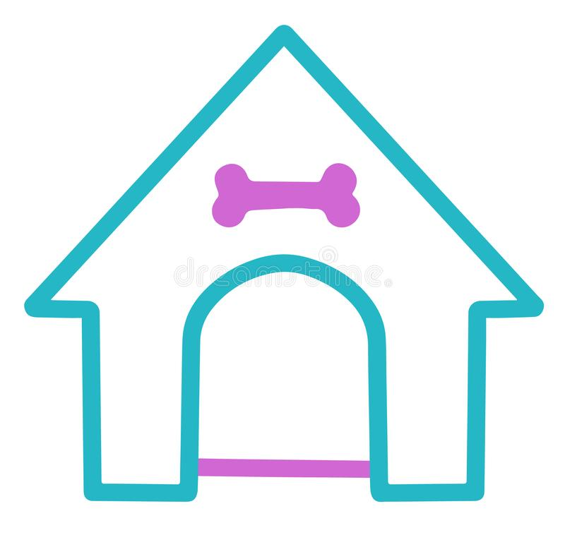 Simple vector icon of dog house with bone above door stock illustration