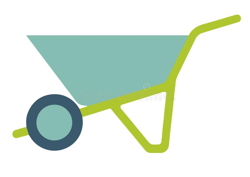 Vector icon of a green wheelbarrow push cart used for gardening or construction work royalty free illustration