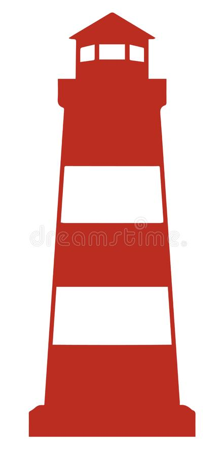 Simple vector icon of red lighthouse stock illustration