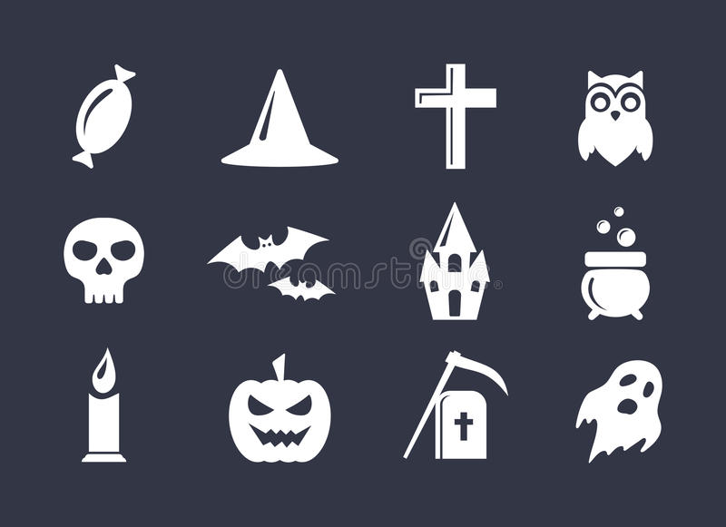 Simple vector icons set for Halloween decoration vector illustration